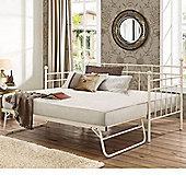 Happy Beds Lyon Metal Guest Bed 3ft Trundle 2x Memory Foam Mattress