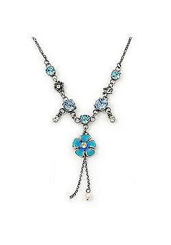 Vintage Inspired Crystal, Floral Charm Necklace In Burn Silver - 38cm Length/ 4cm Extension