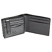 Tony Perotti Italian leather tri-fold note case wallet with tab. Black
