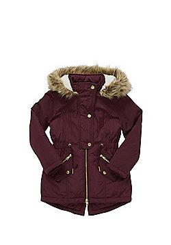F&F Faux Fur Hood Parka - Burgundy