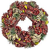 Red, Gold & Green Glitter Pine Cone, Artificial Berry & Fir 34cm Christmas Wreath