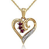 Gemondo 9ct Yellow Gold 0.13ct Ruby & Diamond Heart Pendant
