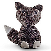 Knitted Look Brown Fabric Fox Doorstop Home Accessory