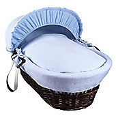 Clair de Lune Dark Wicker Moses Basket (Cotton Candy Blue)