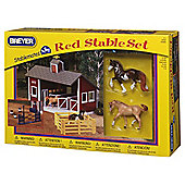 Breyer Stablemates Red Stable & Horses Playset