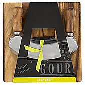 Gourmet Mezzaluna and Acacia Board Set