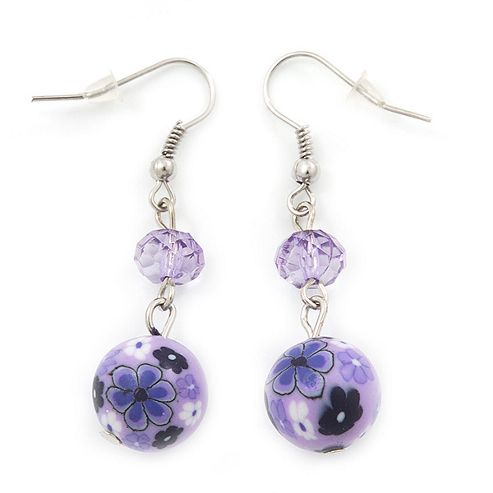 Purple Acrylic Drop Earrings In Silver Plating - 4.5cm Length