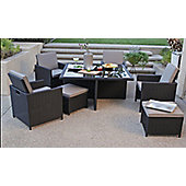 Miami 10 Piece Garden Cube Set Black Rattan