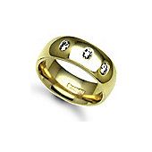 18ct Yellow Gold 7mm Court Diamond set 30pts Trilogy Wedding / Commitment Ring
