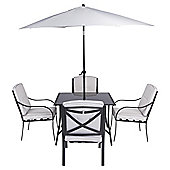 Cambridge 6-piece Metal & Glass Garden Furniture Set