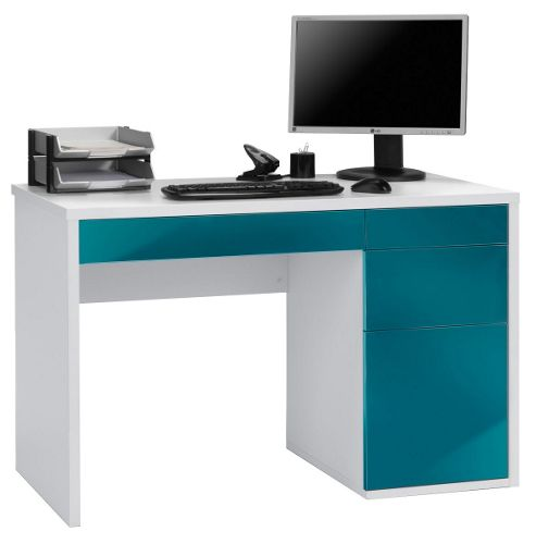 Buy maja club white and petrol computer desk from our office desks tables range tesco - Tesco office desk ...