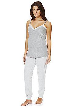 F&F Striped Maternity Pyjamas - Grey