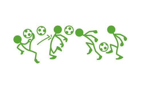 Football Stick Players Wall Stickers, Green