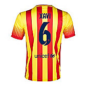 2013-14 Barcelona Away Shirt (Xavi 6) - Kids - Red