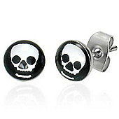 Urban Male Stainless Steel Black & White Skull Stud Earrings 7mm
