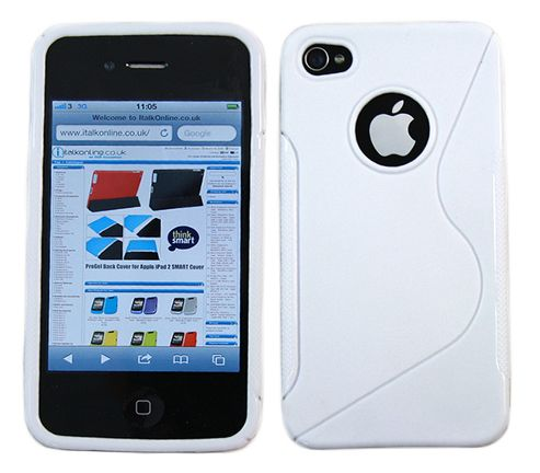iTALKonline 12527 Solid Wave Silicone Crystal Twin Case White - For  Apple iPhone 4