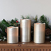 Set of 3 Silver Wax Battery LED Candles