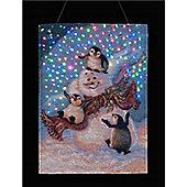 Dona Gelsinger 13 x 18in Blizzard Buddies illuminated Tapestry
