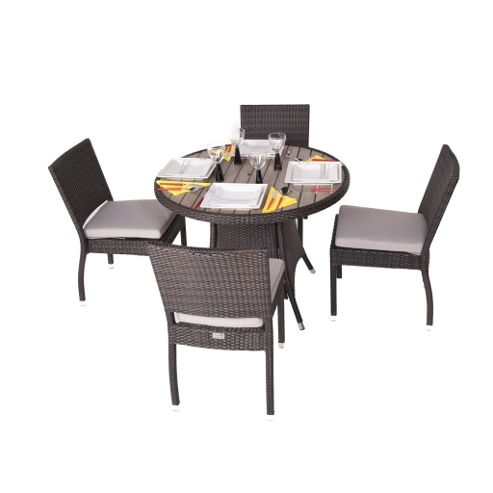 Cassius 4 Seater Round Rattan & Plaswood Set With Side Chairs - Outdoor/Garden table and Chair set.