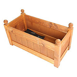 26'' Clarence Classic Teak Planter Trough with 2 Plastic Liners