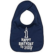 Dirty Fingers Happy 1st Birthday to me! Baby Bib Navy