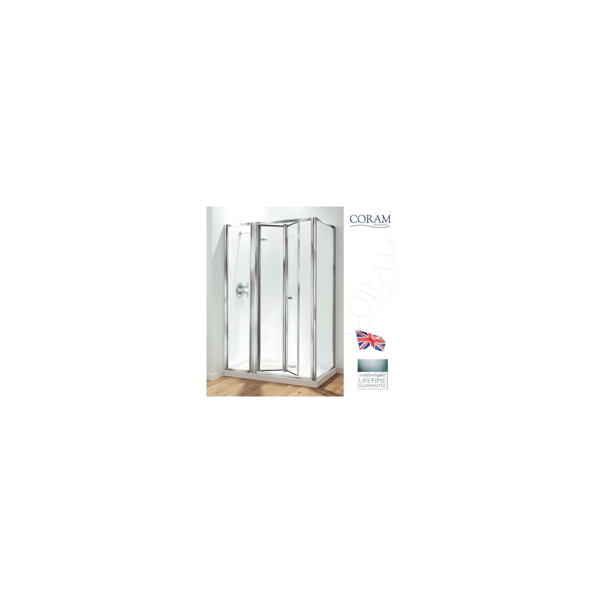 Coram Optima Inline Bi-Fold Door Shower Enclosure, 1200mm x 760mm, Low Profile Tray, 6mm Glass at Tesco Direct