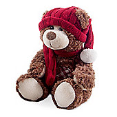 Small Dark Brown Plush Louie Bear in Winter Hat & Scarf