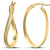 Jewelco London 9ct Yellow Gold Super Light twisting oval shaped hoop Earrings with platted textured pattern