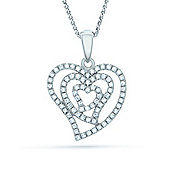 The REAL Effect Rhodium Plated Sterling Silver Cubic Zirconia Heart Pendant