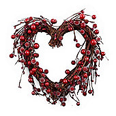 Small Heart Shaped Christmas Wreath with Artificial Frosted Red Berries