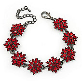Burgundy Red Swarovski Crystal Floral Bracelet In Gun Metal - 16cm Length (with 5cm extension)