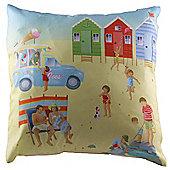 Jan Pashley Seaside & Beach Hut Design Printed Scatter Cushion