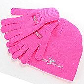 Precision Running Black or High Viz Training Beanie & Gloves Set - Pink