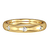 Jewelco London 18ct Yellow Gold - Diamond - 8-Court-Shaped Band Commitment / Wedding Ring -