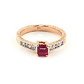 QP Jewellers Diamond & Ruby Ornate Gemstone Ring in 14K Rose Gold