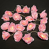 20 Battery Operated LED Pink Rose Chain String Lights