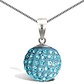 Jewelco London Sterling Silver Crystal Charm Pendant - 18 inch Chain