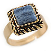 Vintage Small Square Blue Marble Ring In Burnt Gold - 13mm Width - Adjustable - Size 8/9
