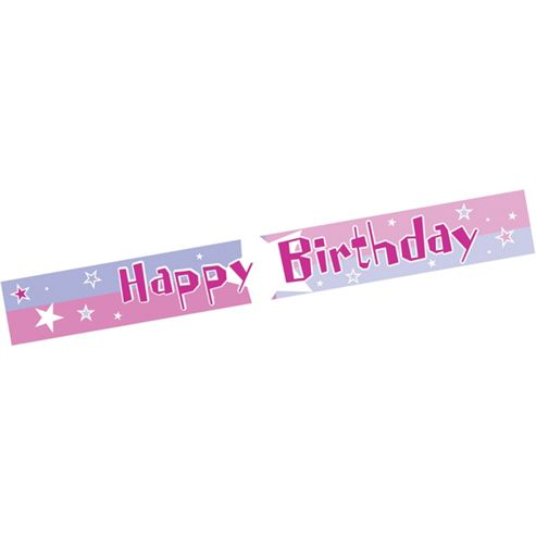 Amscan Shimmer Happy Birthday Banner Pink