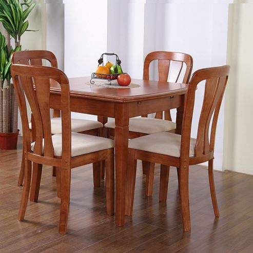 G&P Furniture Windsor House 5-Piece Lincoln Extending Dining Set with Slatted Back Chair - Cherry