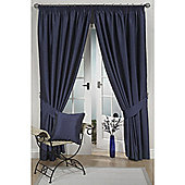KLiving Pencil Pleat Ravello Faux Silk Lined Curtain 90x90 Inches Navy