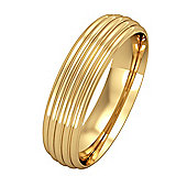 Jewelco London 9ct Yellow Gold - 5mm Essential Court-Shaped Ribbed Band Commitment / Wedding Ring -