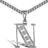 Jewelco London Sterling Silver Cubic Zirconia Identity Pendant - Initial N - 18inch Chain