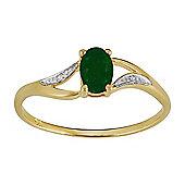 Gemondo 9ct Yellow Gold 0.42ct Natural Emerald & Diamond Single Stone Ring