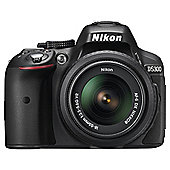 Nikon D5300 Digital SLR, Black, 24.2 Mega Pixel, Wi-Fi, 18-55mm Lens