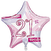 21st Birthday Pink Shimmer Foil Balloon