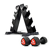 Bodymax Studio Dumbbells - 3 Pairs (2,4,6kg) with Rack