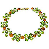 QP Jewellers 5in Citrine & Peridot Blossom Bracelet in 14K Gold