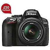 "Nikon D5300 Digial SLR, Black, 24.2MP, 3.2"" LCD Scren, 18-55 Kit Lens, Wi-Fi"