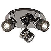 Endon Lighting Three Light Modern Ceiling Spotlight in Black Chrome